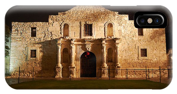 Alamo Mission Entrance Front Profile At Night In San Antonio Texas IPhone Case
