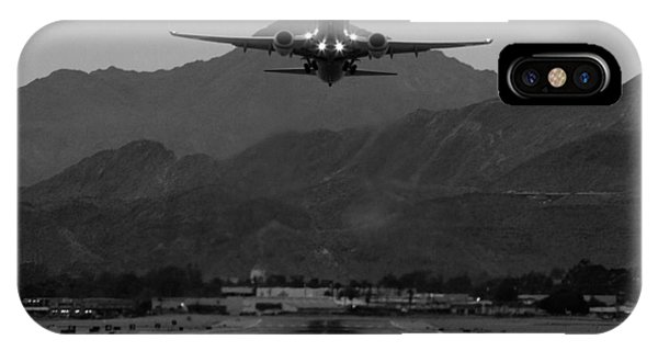 Airplanes iPhone Case - Alaska Airlines Palm Springs Takeoff by John Daly