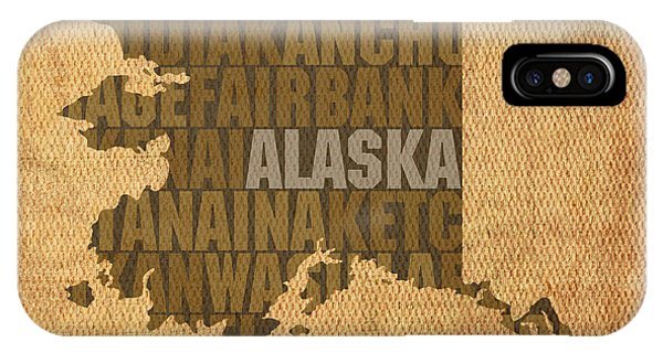 Map iPhone Case - Alaska Word Art State Map On Canvas by Design Turnpike