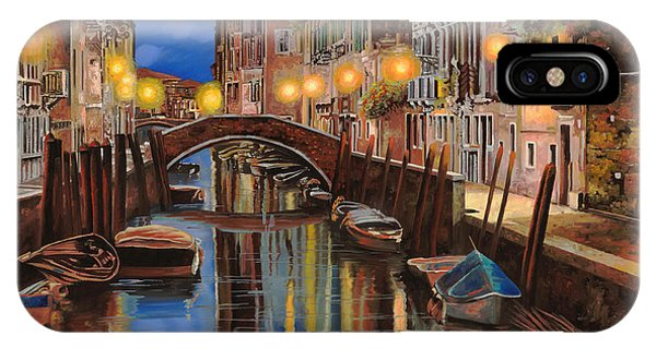 Docked Boats iPhone Case - alba a Venezia  by Guido Borelli