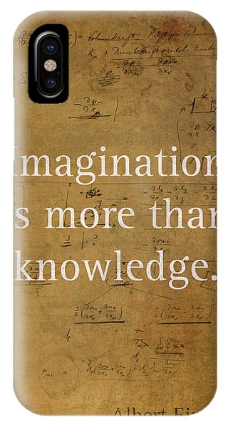 Inspirational iPhone Case - Albert Einstein Quote Imagination Science Math Inspirational Words On Worn Canvas With Formula by Design Turnpike
