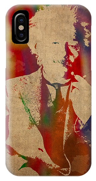 Portraits iPhone X Case - Albert Einstein Watercolor Portrait On Worn Parchment by Design Turnpike