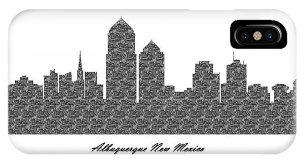 Albuquerque New Mexico 3d Bw Stone Wall Skyline IPhone Case