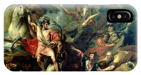 Bravery iPhone Case - Alexander IIi Of Scotland Rescued From The Fury Of A Stag By The Intrepidity Of Colin Fitzgerald by Benjamin West