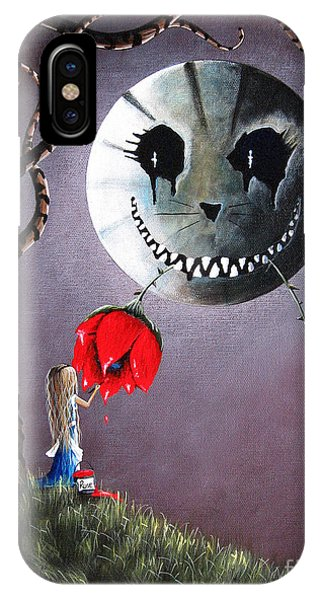 Imagination iPhone Case - Alice In Wonderland Original Artwork - Alice And The Dripping Rose by Erback Art