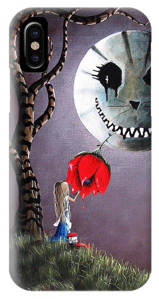 Alice In Wonderland iPhone Case - Alice In Wonderland Original Artwork - Alice And The Dripping Rose by Artisan Parlour