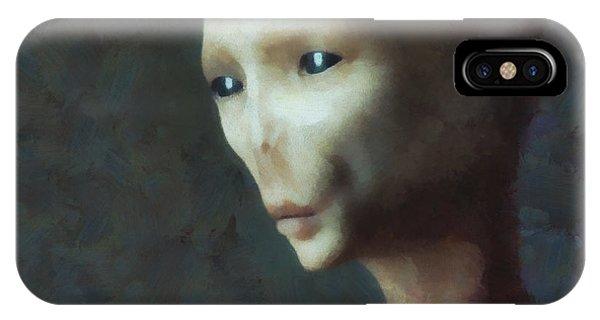 Strange iPhone Case - Alien Grey Thoughtful  by Pixel Chimp