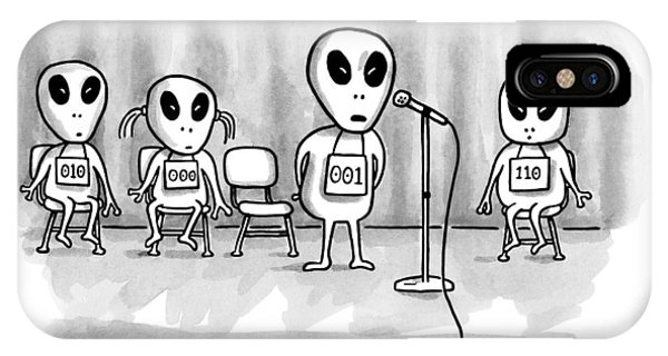 Space iPhone Case - Aliens Participating In A Spelling Bee by Bob Eckstein