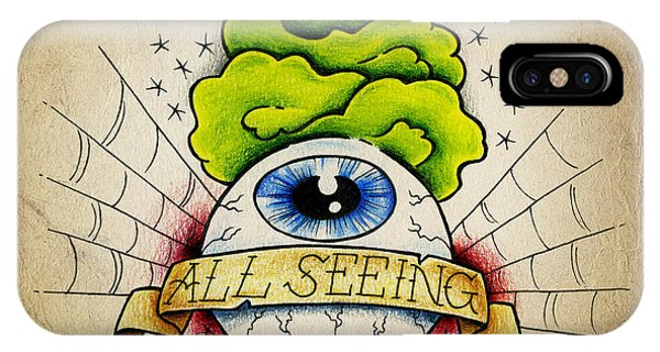 Color Pencil iPhone Case - All Seeing Eye by Samuel Whitton
