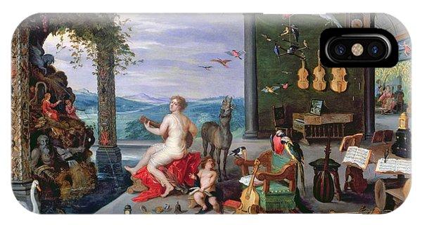 Trombone iPhone X Case - Allegory Of Music Oil On Canvas by Jan the Elder Brueghel
