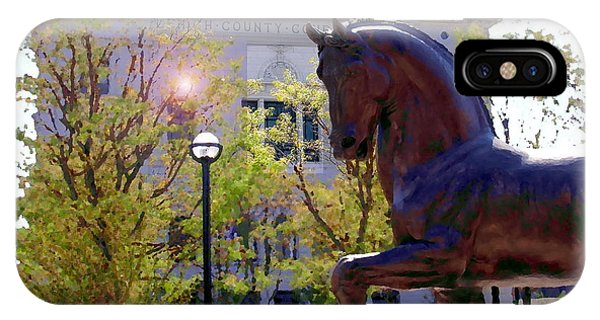 Allentown Pa Old Lehigh County Courthouse And Davinci I Horse  IPhone Case