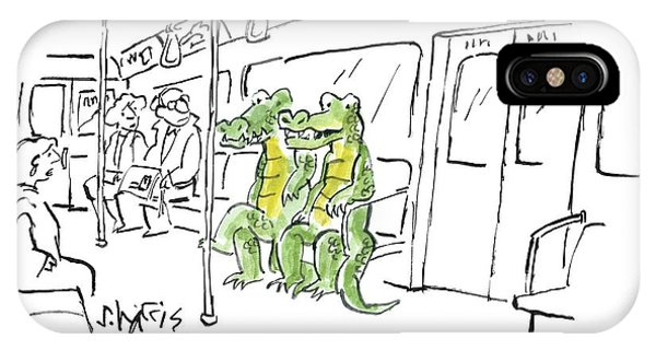 Crocodile iPhone Case - Alligators Riding The Subway by Sidney Harris