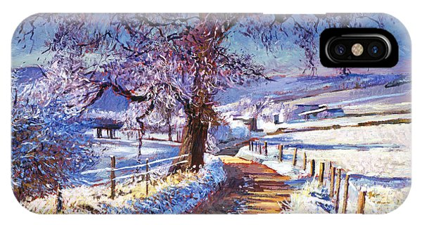 Barn Snow iPhone Case - Along The Snow Lined Road by David Lloyd Glover