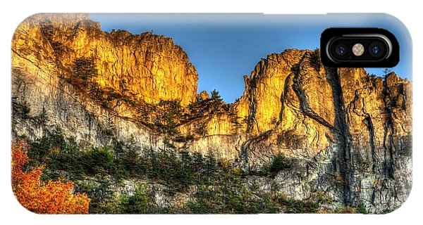 Alpenglow At Days End Seneca Rocks - Seneca Rocks National Recreation Area Wv Autumn Early Evening IPhone Case