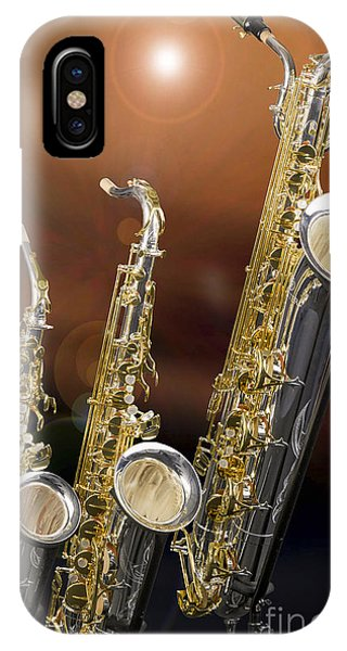 Alto Tenor Baritone Saxophone Photo In Color 3461.02 IPhone Case