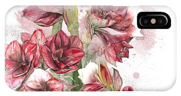 Amaryllis Flowers - 4. - Elena Yakubovich IPhone Case