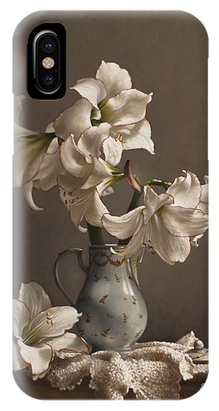 Amaryllis iPhone Case - Amaryllis In A French Chocolate Pot by Lawrence Preston
