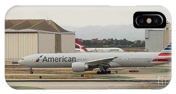 American Airliner On Runway At Lax In May 2014 IPhone Case