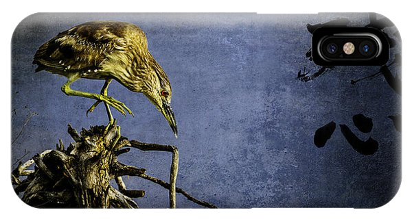 American Bittern With Brush Calligraphy Lingering Mind IPhone Case