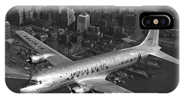 Exterior iPhone Case - American Dc-6 Flying Over Nyc by Underwood Archives