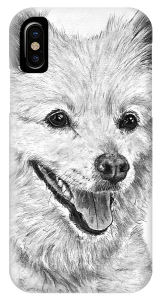 American Eskimo Charcoal Drawing IPhone Case