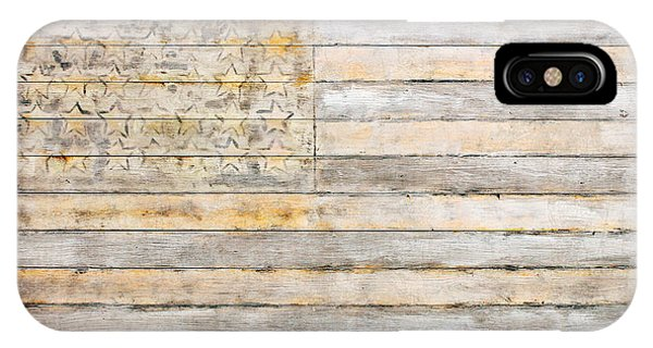American Flag On Distressed Wood Beams White Yellow Gray And Brown Flag IPhone Case