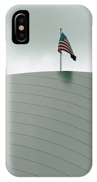 American Flag On Modern Museum In La IPhone Case