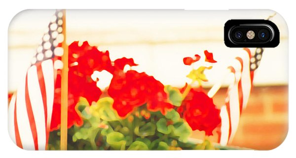 American Flags And Geraniums In A Wheelbarrow In Maine, One IPhone Case