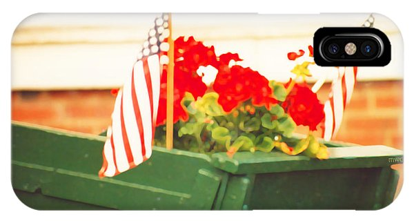 American Flags And Geraniums In A Wheelbarrow In Maine, Two IPhone Case