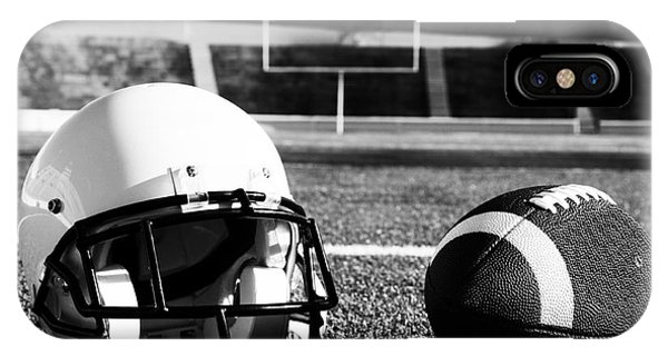 American Football And Helmet On Field IPhone Case