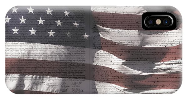 Historical Documents On Us Flag IPhone Case