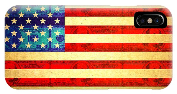 Capitalism iPhone Case - American Money Flag by Steve Ball