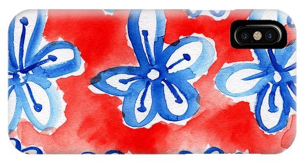 Blue And White iPhone Case - Americana Celebration 2 by Linda Woods