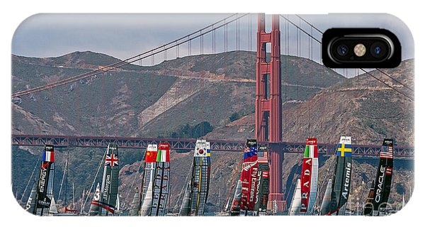 IPhone Case featuring the photograph Americas Cup Catamarans At The Golden Gate by Kate Brown