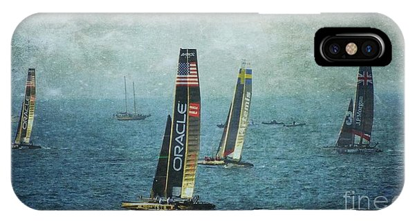 Americas Cup Racing - Oracle Phone Case by Scott Cameron