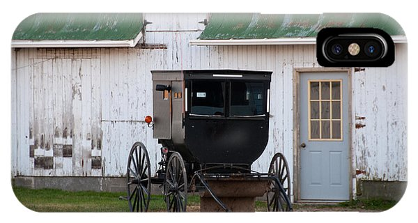 Amish Buggy White Barn IPhone Case