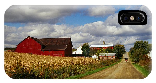 Amish iPhone Case - Amish Farm Buildings And Corn Field by Panoramic Images