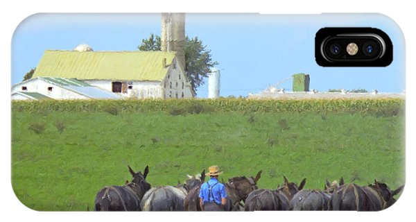 Amish iPhone Case - Amish Farmer Working The Land by Diane Diederich