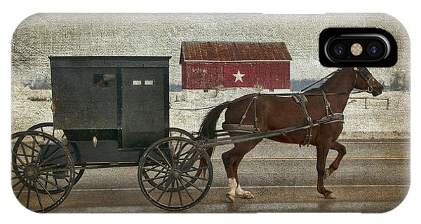Amish Horse And Buggy And The Star Barn IPhone Case