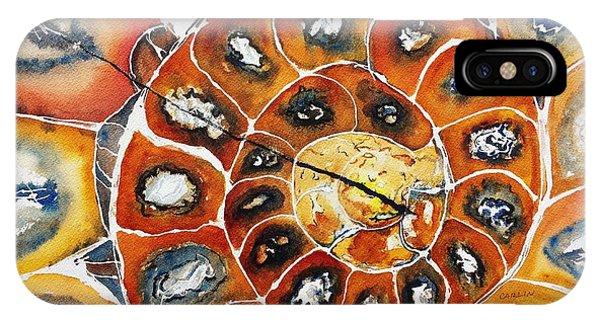 Fossil iPhone Case - Ammonite Fossil Shell by Carlin Blahnik CarlinArtWatercolor