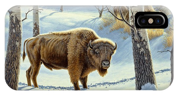 Yellowstone iPhone Case - Among The Aspens- Buffalo by Paul Krapf