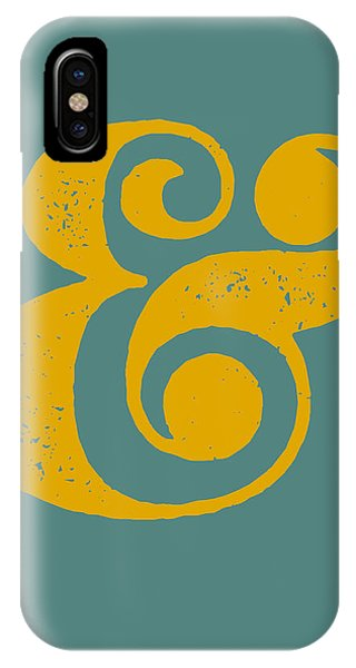 Motivational iPhone Case - Ampersand Poster Blue And Yellow by Naxart Studio