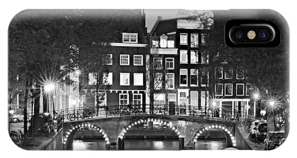 IPhone Case featuring the photograph Amsterdam Bridge At Night / Amsterdam by Barry O Carroll