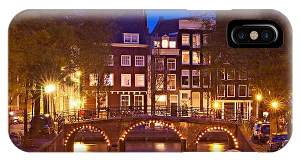 IPhone Case featuring the photograph Amsterdam Bridge At Night by Barry O Carroll