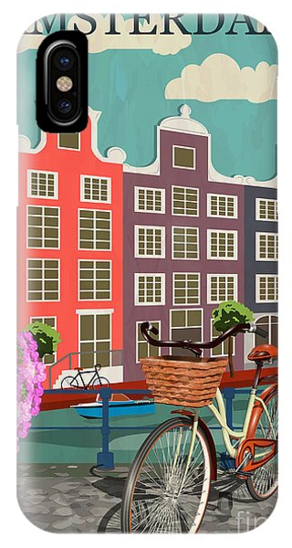 Cycling iPhone Case - Amsterdam City Background by Ivgroznii