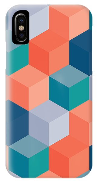 Rectangles iPhone X Case - An Abstract Geometric Vector Background by Mike Taylor