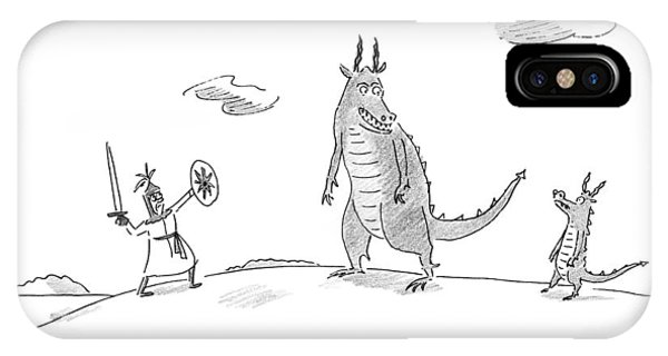 An Adult Dragon Instructs His Child Dragon IPhone Case