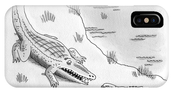 Crocodile iPhone Case - An Alligator Is Seen Speaking To An by Mick Stevens