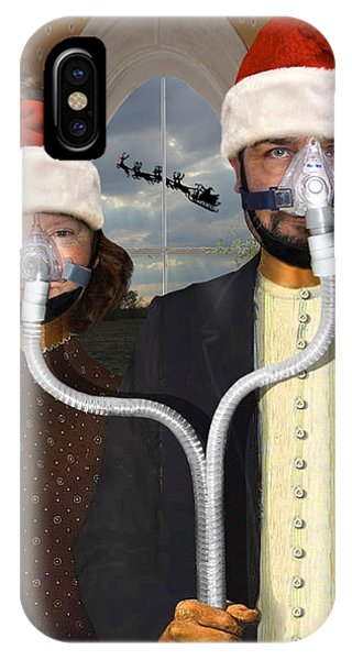 An American Gothic Sleep Apnea Merry Christmas IPhone Case