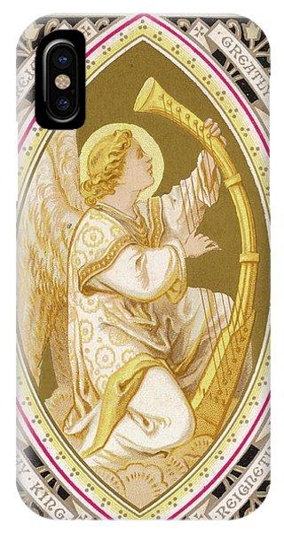 An Angel Plays A Harp          Date Phone Case by Mary Evans Picture Library